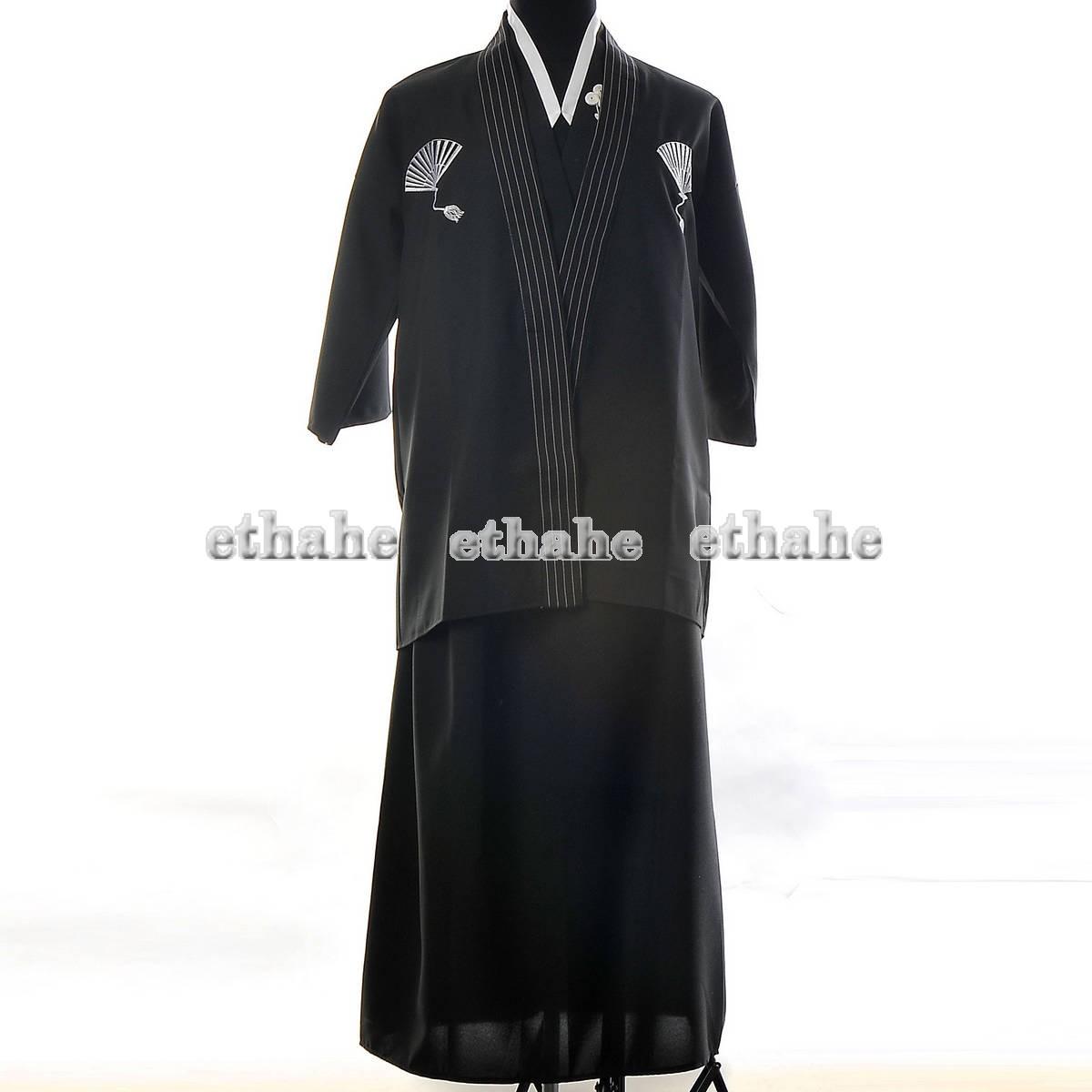 Japan-Kimono-Mens-Haori-Hakama-Samura-Robe-Black-G46Q