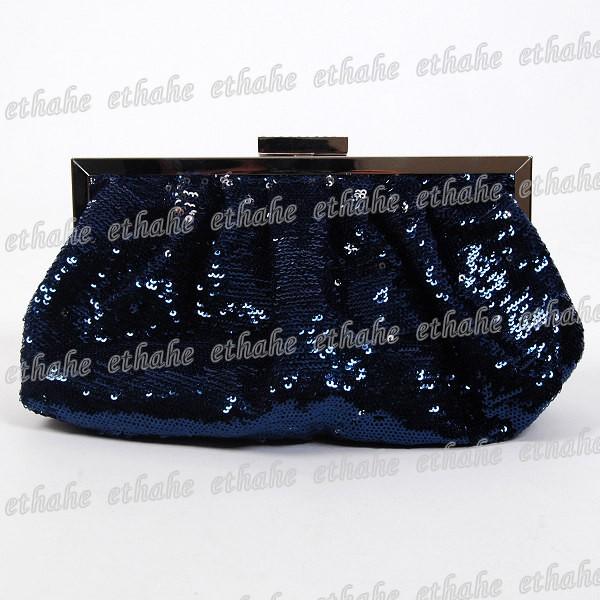 Paillettes-Clutch-Shoulder-Bag-Handbag-Navy-Blue-66CL