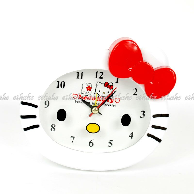 hello kitty plastik wecker uhr tischuhr kinder s wh0s ebay. Black Bedroom Furniture Sets. Home Design Ideas