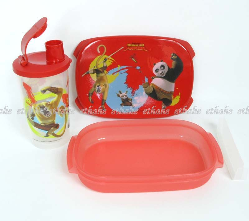tupperware new kung fu panda bento lunch box set gtfl ebay. Black Bedroom Furniture Sets. Home Design Ideas